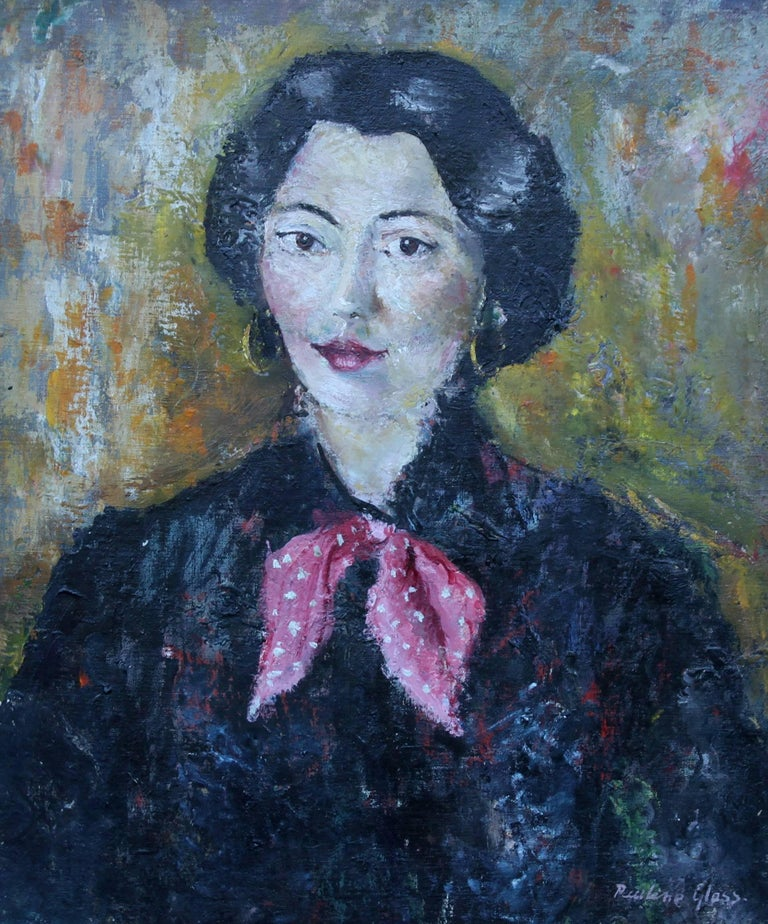 Portrait Of A French Lady British 50 S Art Female Portrait Oil Painting