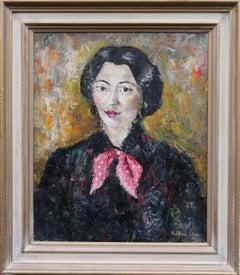 Portrait of a French Lady - British 50's art female portrait oil painting