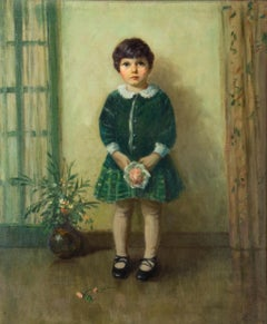 19th Century painting of young child in green by American Artist, Pauline Palmer