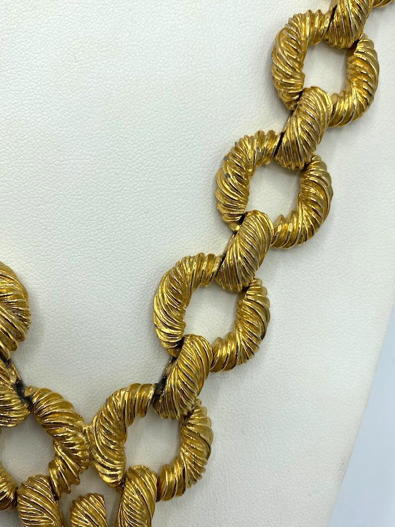 Pauline Rader 1970s Long Gold Rope Link Pendant Necklace For Sale 11