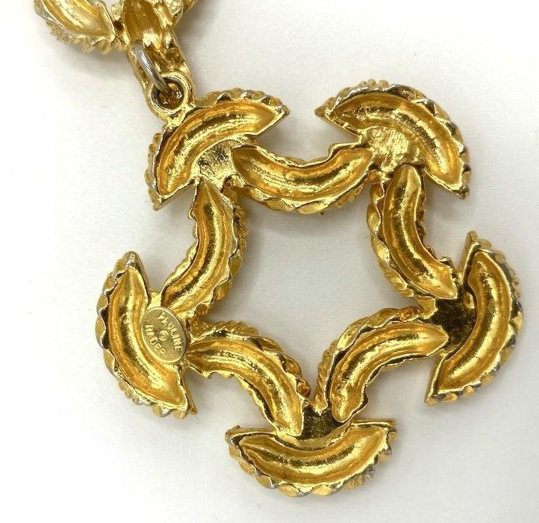 Pauline Rader 1970s Long Gold Rope Link Pendant Necklace For Sale 13