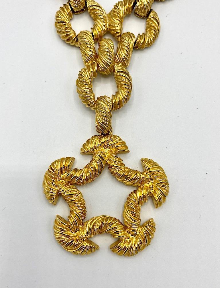 Pauline Rader 1970s Long Gold Rope Link Pendant Necklace For Sale 1