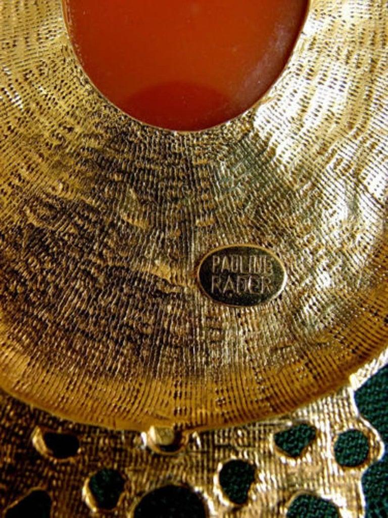 Pauline Rader Carnelian Fringe Necklace with Clamp Bracelet & Ring 3pc Set 70s  For Sale 4