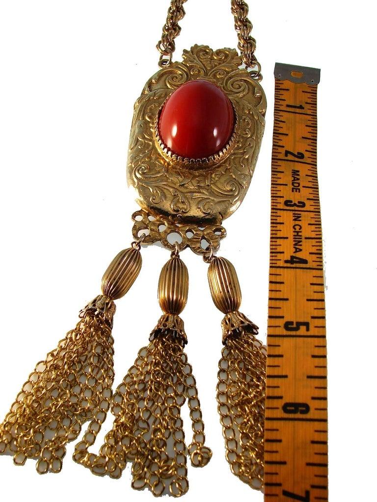 Baroque Pauline Rader Carnelian Fringe Necklace with Clamp Bracelet & Ring 3pc Set 70s  For Sale