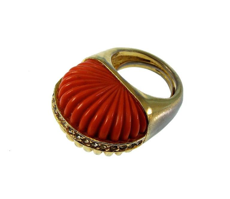 Pauline Rader Carnelian Fringe Necklace with Clamp Bracelet & Ring 3pc Set 70s  For Sale 1