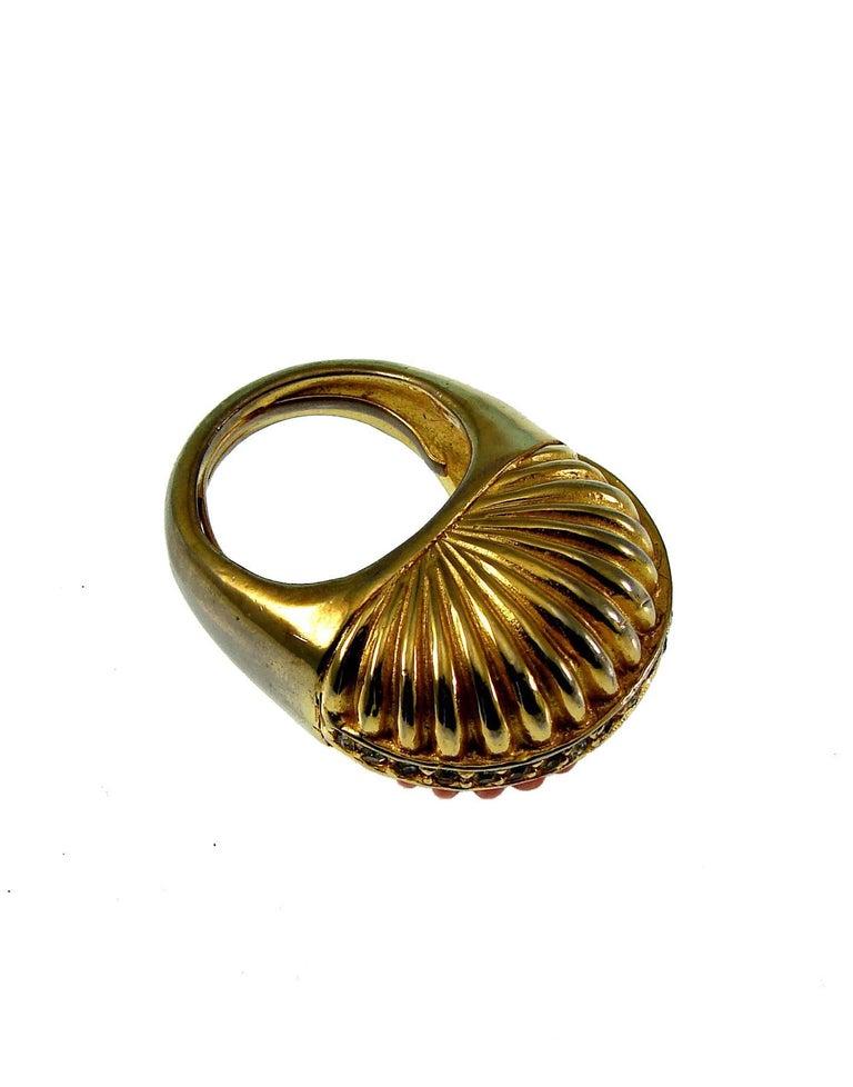 Pauline Rader Carnelian Fringe Necklace with Clamp Bracelet & Ring 3pc Set 70s  For Sale 2