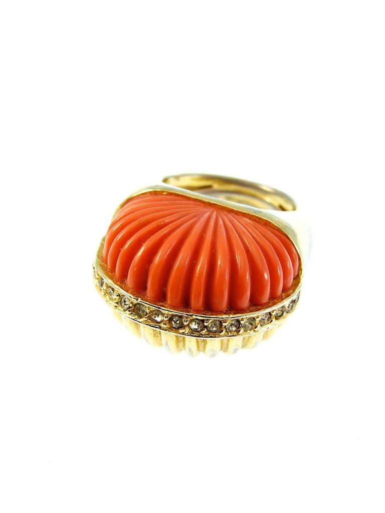 Pauline Rader Carnelian Fringe Necklace with Clamp Bracelet & Ring 3pc Set 70s  For Sale 3
