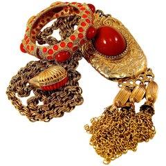 Pauline Rader Carnelian Fringe Necklace with Clamp Bracelet & Ring 3pc Set 70s