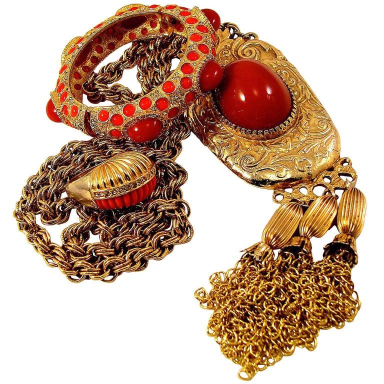 Pauline Rader Carnelian Fringe Necklace with Clamp Bracelet & Ring 3pc Set 70s  For Sale
