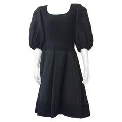 Pauline Trigere 1980s Black Evening Cocktail Dress Size 6/8.