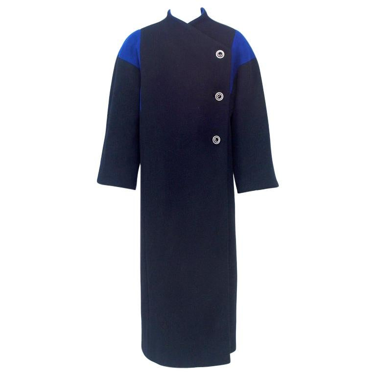 Pauline Trigere Black Coat With Royal Blue Inserts