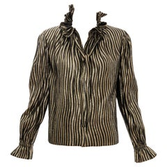 Pauline Trigere Black Gold Striped Metallic Snap Front Blouse, Circa: 1970's