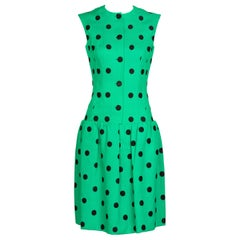 Pauline Trigere Black Polka Dot Green Linen Dress, 1960s