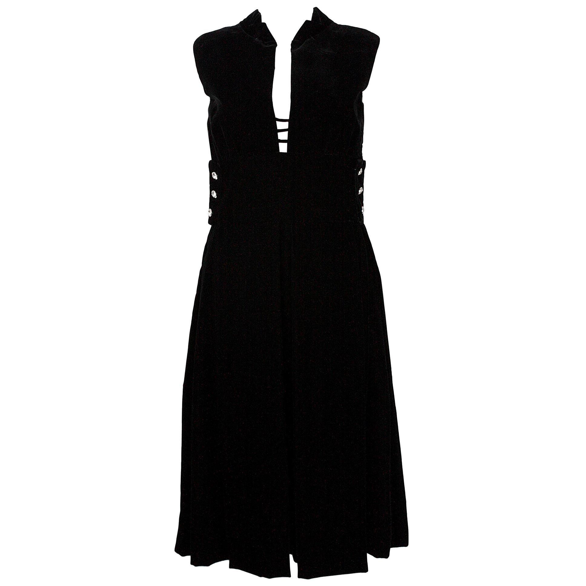 Pauline Trigere Black Silk Velvet Cocktail Dress