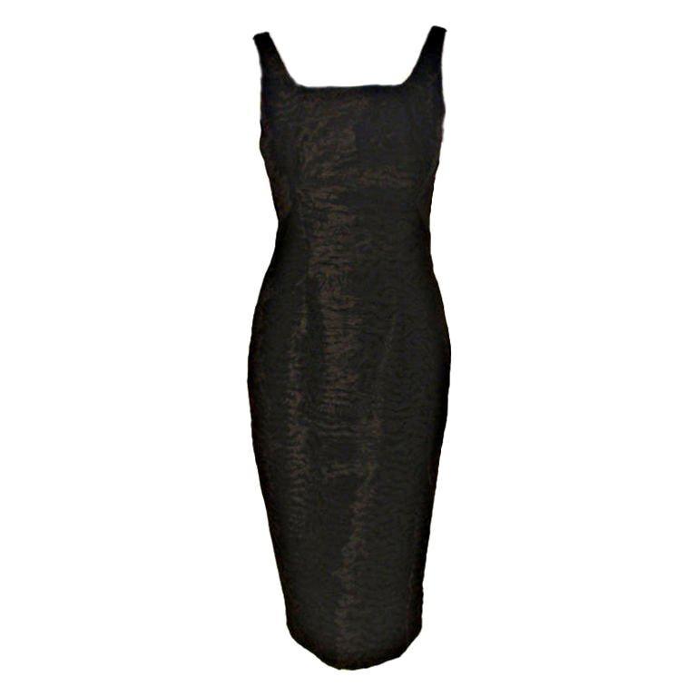 Pauline Trigere Black Textured Velvet Cocktail Dress, Circa 1960's