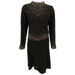 Pauline Trigere Black Wool Crepe Dress with Diamanté Studded Top Larger Size