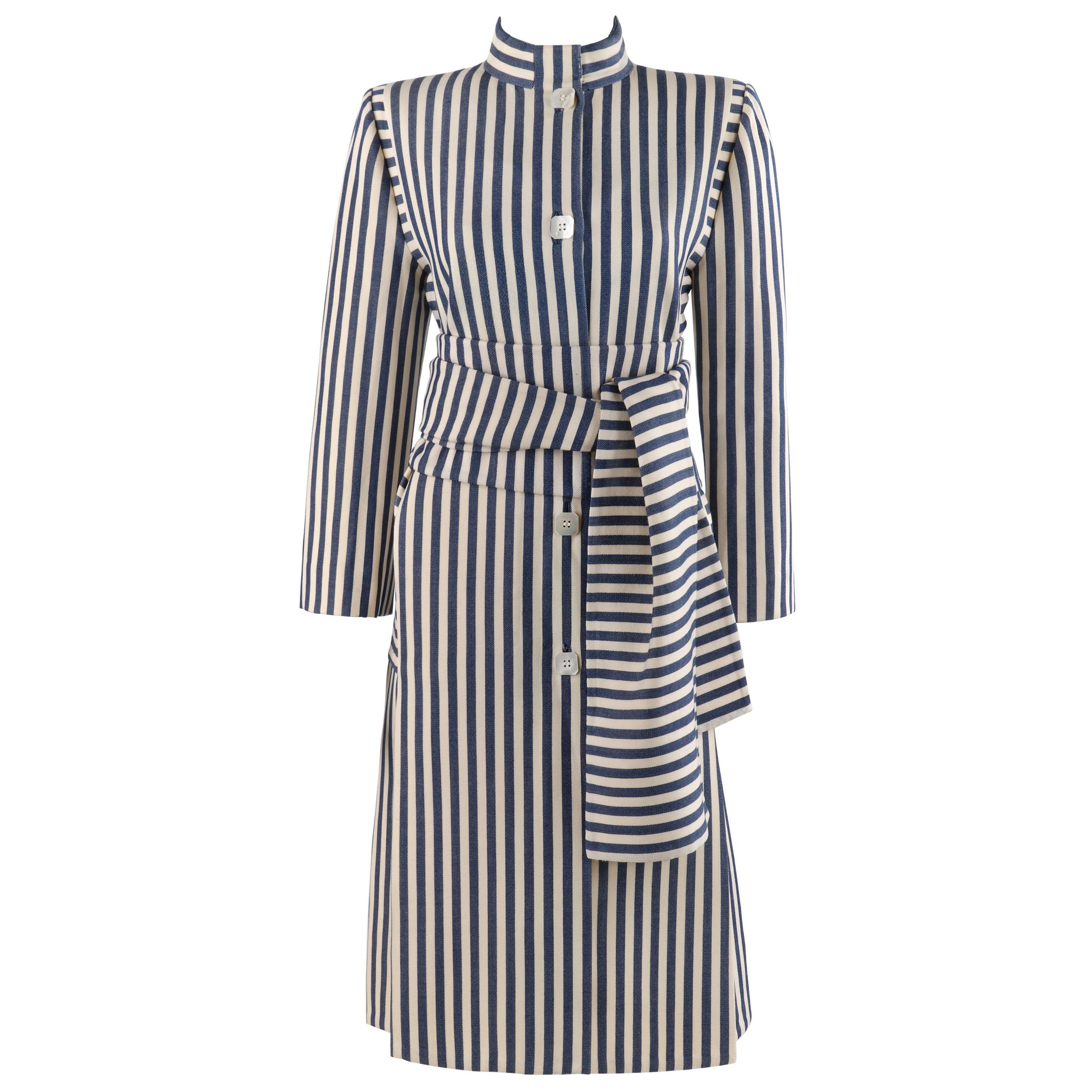 PAULINE TRIGERE c.1980's Blue Ivory Striped Pleated Coat Jacket Sash Scarf Set