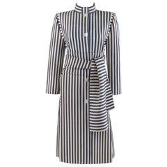 PAULINE TRIGERE c.1980's Blue Ivory Striped Pleated Coat Jacket Sash Scarf Set