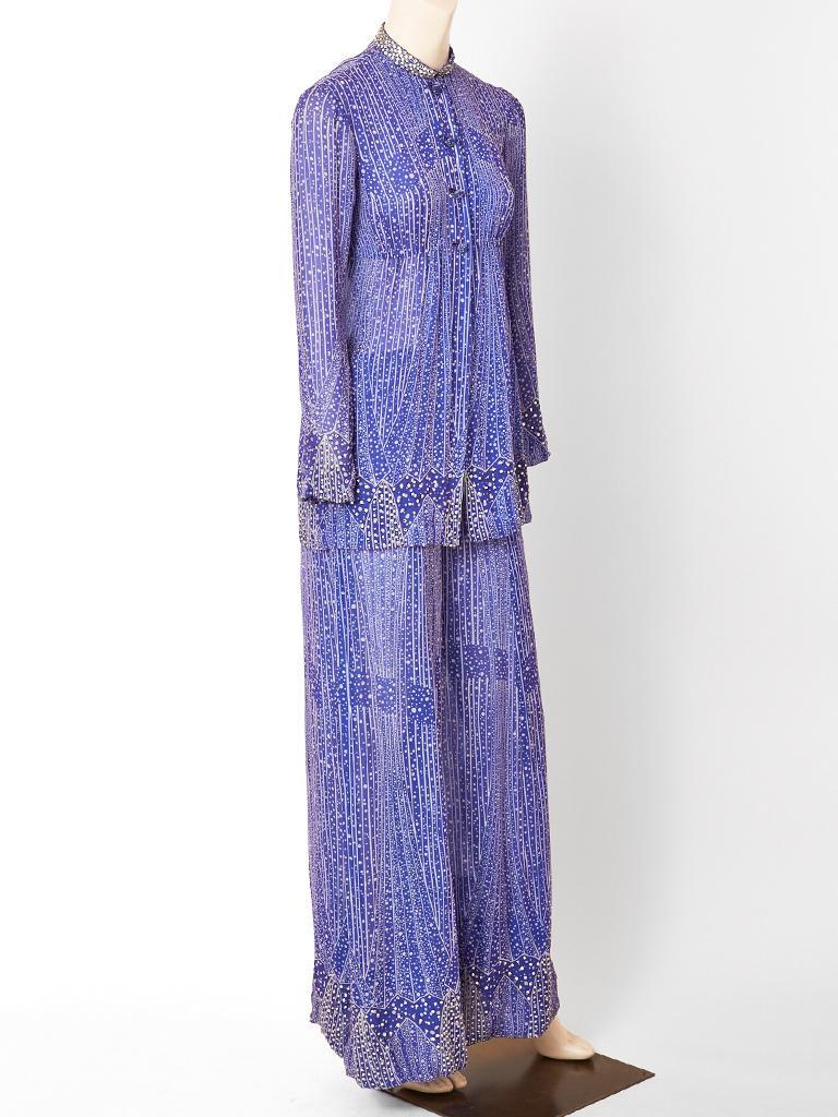 Purple Pauline Trigère  Celestial Pattern Tunic and Pant Ensemble  For Sale