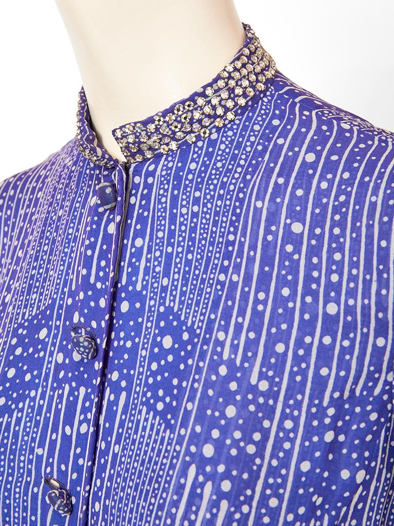 Pauline Trigère  Celestial Pattern Tunic and Pant Ensemble  In Good Condition For Sale In New York, NY
