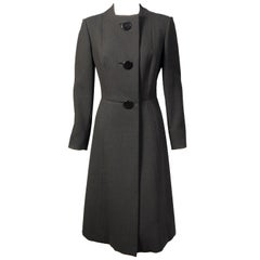 Pauline Trigere Collarless Three Button Black Wool Coat
