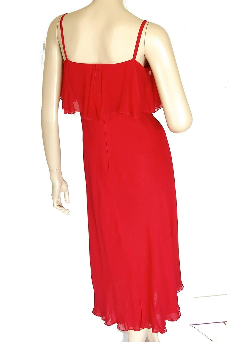 Pauline Trigère Coral Red Cocktail Dress with Shawl Silk Chiffon Ruffles 70s M In Good Condition For Sale In Port Saint Lucie, FL