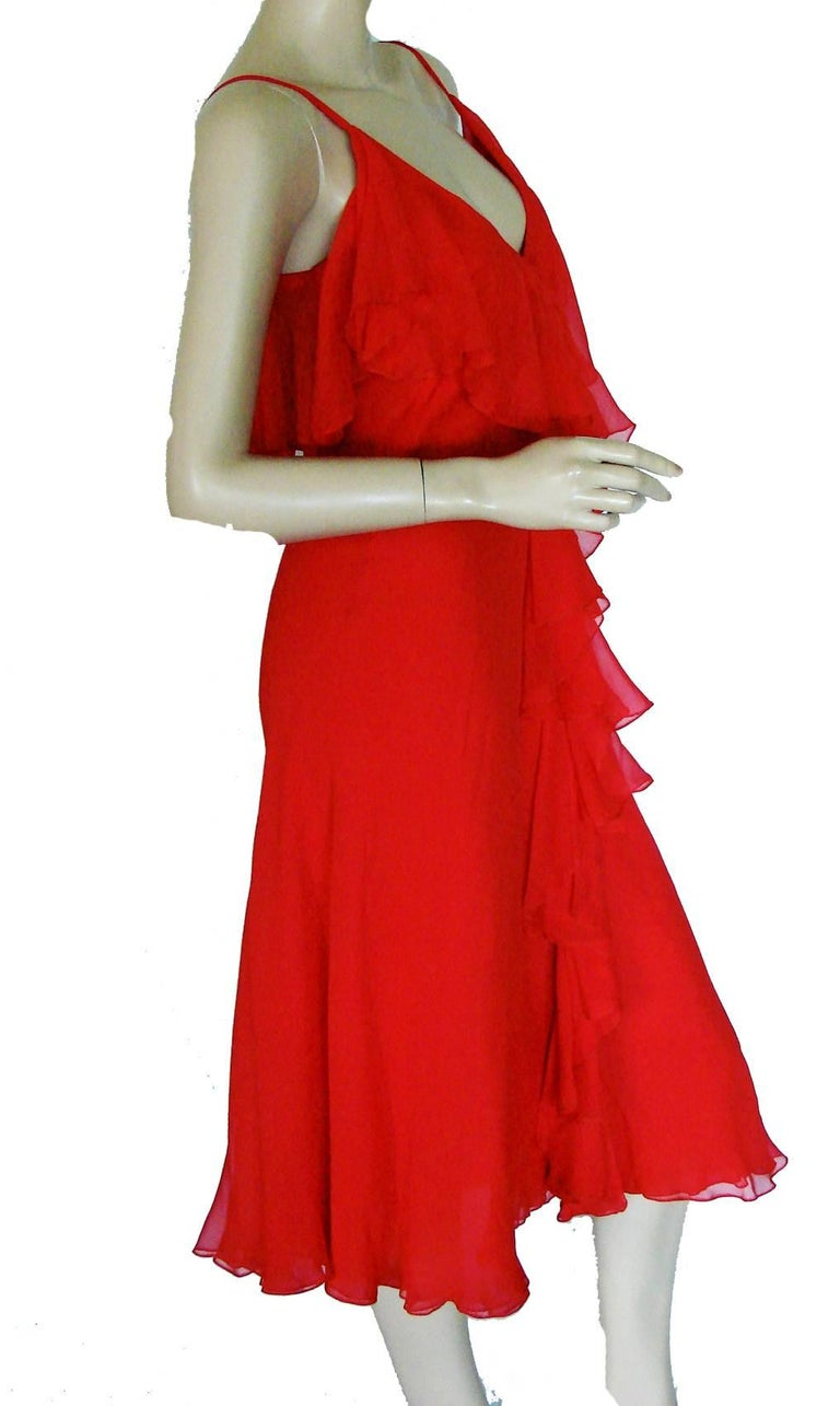 Women's Pauline Trigère Coral Red Cocktail Dress with Shawl Silk Chiffon Ruffles 70s M For Sale