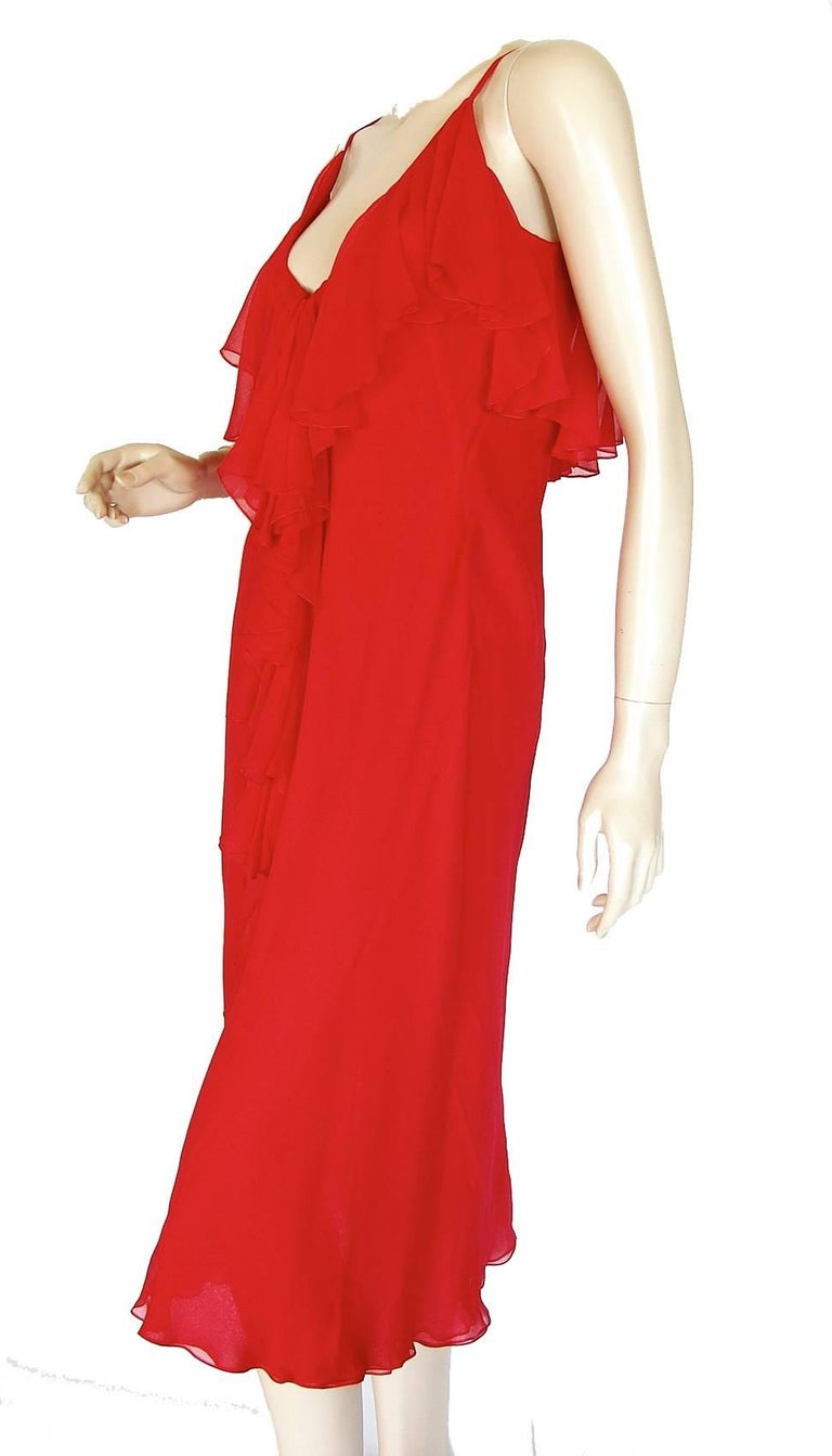 Pauline Trigère Coral Red Cocktail Dress with Shawl Silk Chiffon Ruffles 70s M For Sale 1