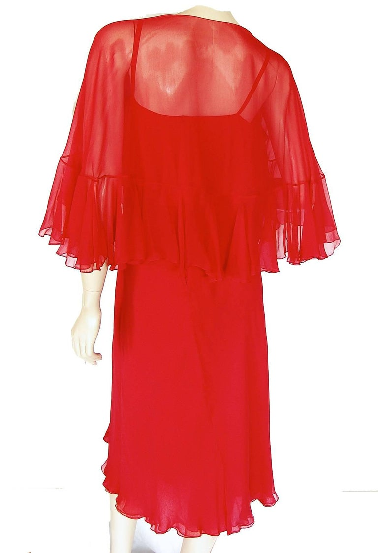 Pauline Trigère Coral Red Cocktail Dress with Shawl Silk Chiffon Ruffles 70s M For Sale 2