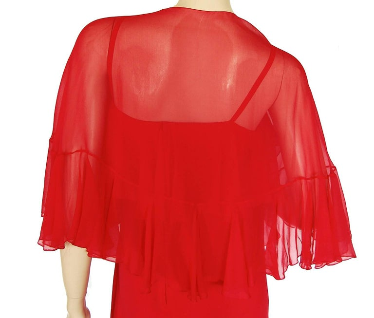 Pauline Trigère Coral Red Cocktail Dress with Shawl Silk Chiffon Ruffles 70s M For Sale 3