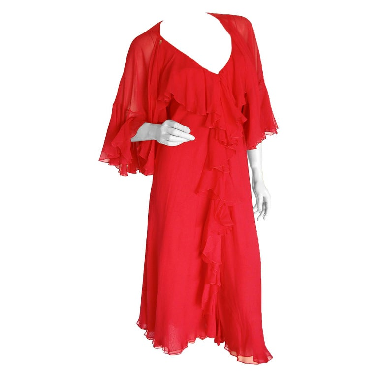 Pauline Trigère Coral Red Cocktail Dress with Shawl Silk Chiffon Ruffles 70s M For Sale