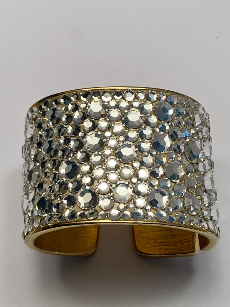 Contemporary Pauline Trigere Diamante Covered Hinged Cuff Bracelet For Sale