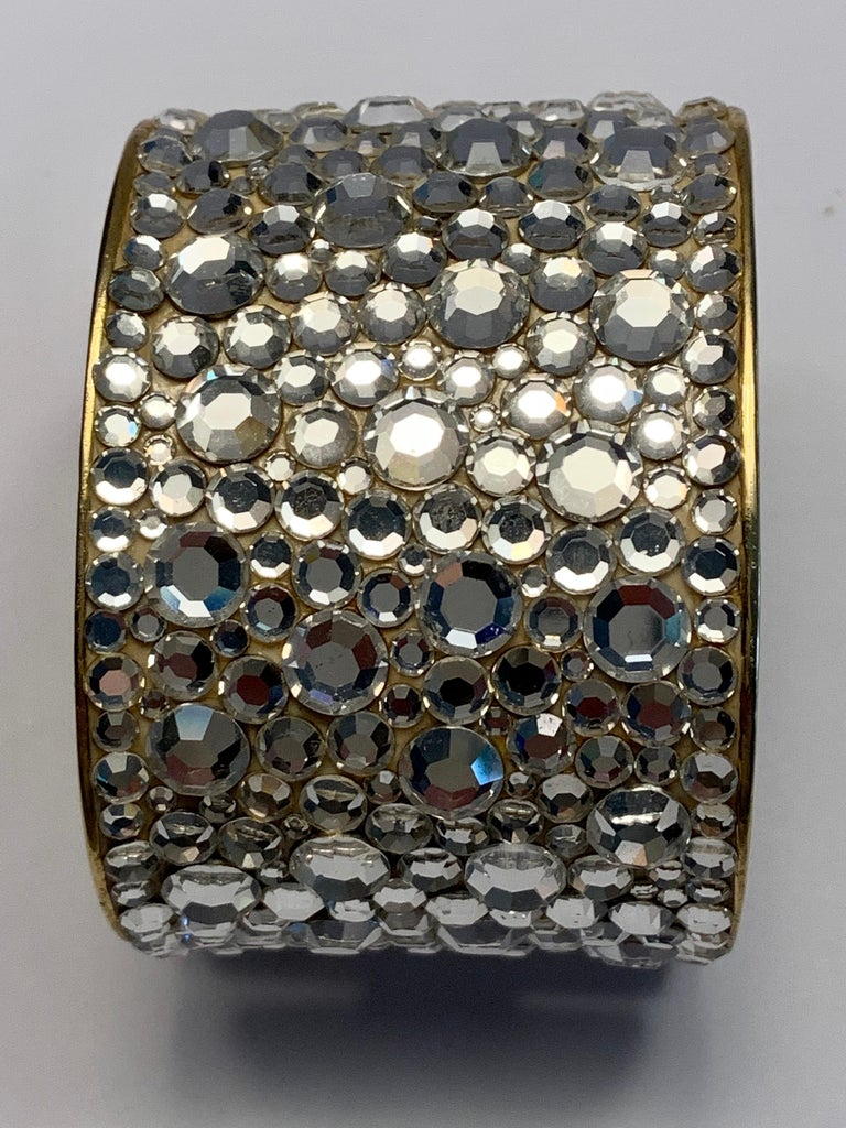 Pauline Trigere Diamante Covered Hinged Cuff Bracelet In Excellent Condition For Sale In New Hope, PA