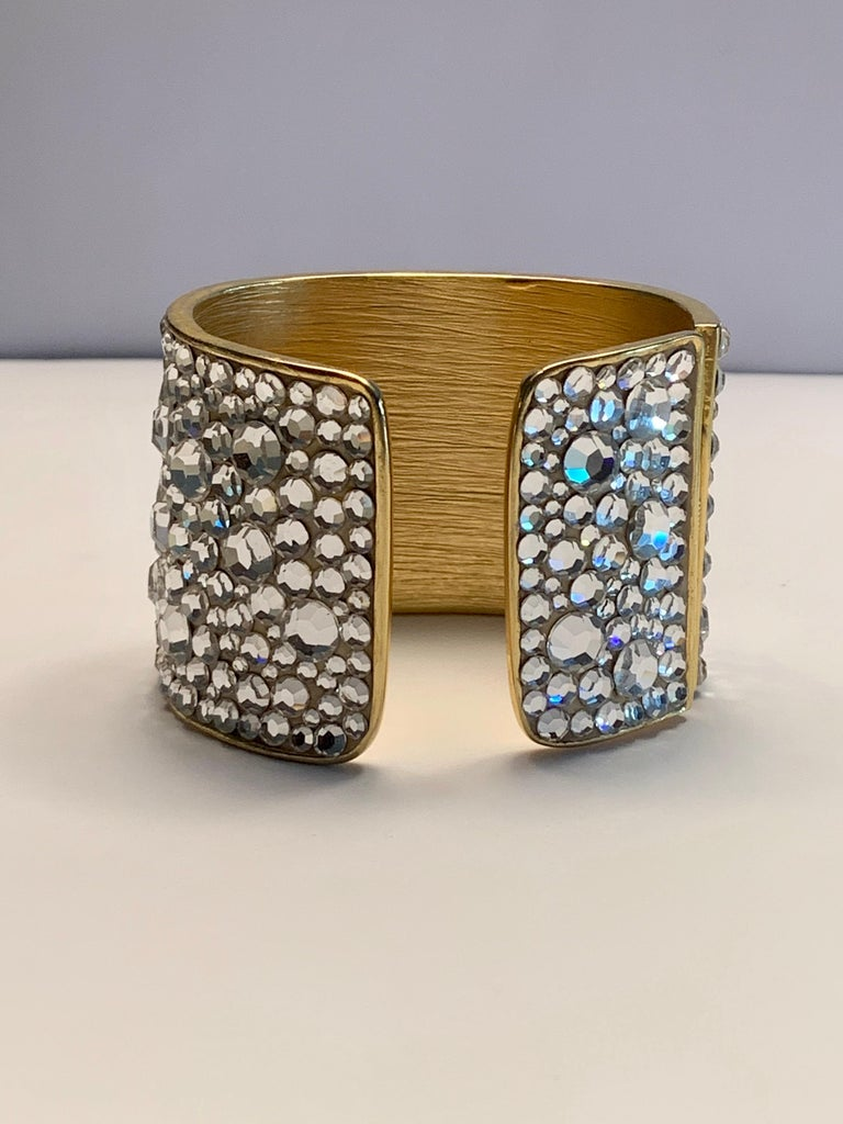 Women's Pauline Trigere Diamante Covered Hinged Cuff Bracelet For Sale