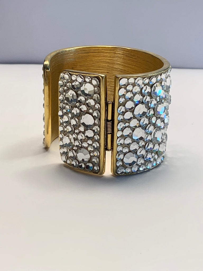 Pauline Trigere Diamante Covered Hinged Cuff Bracelet For Sale 1