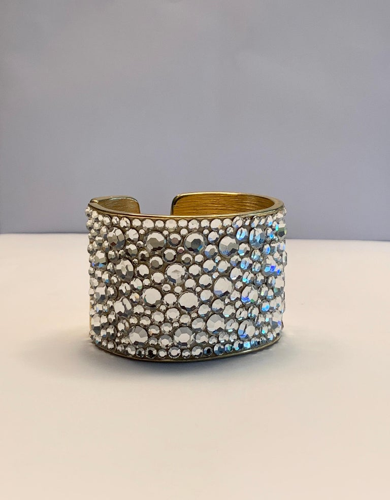Pauline Trigere Diamante Covered Hinged Cuff Bracelet For Sale 2