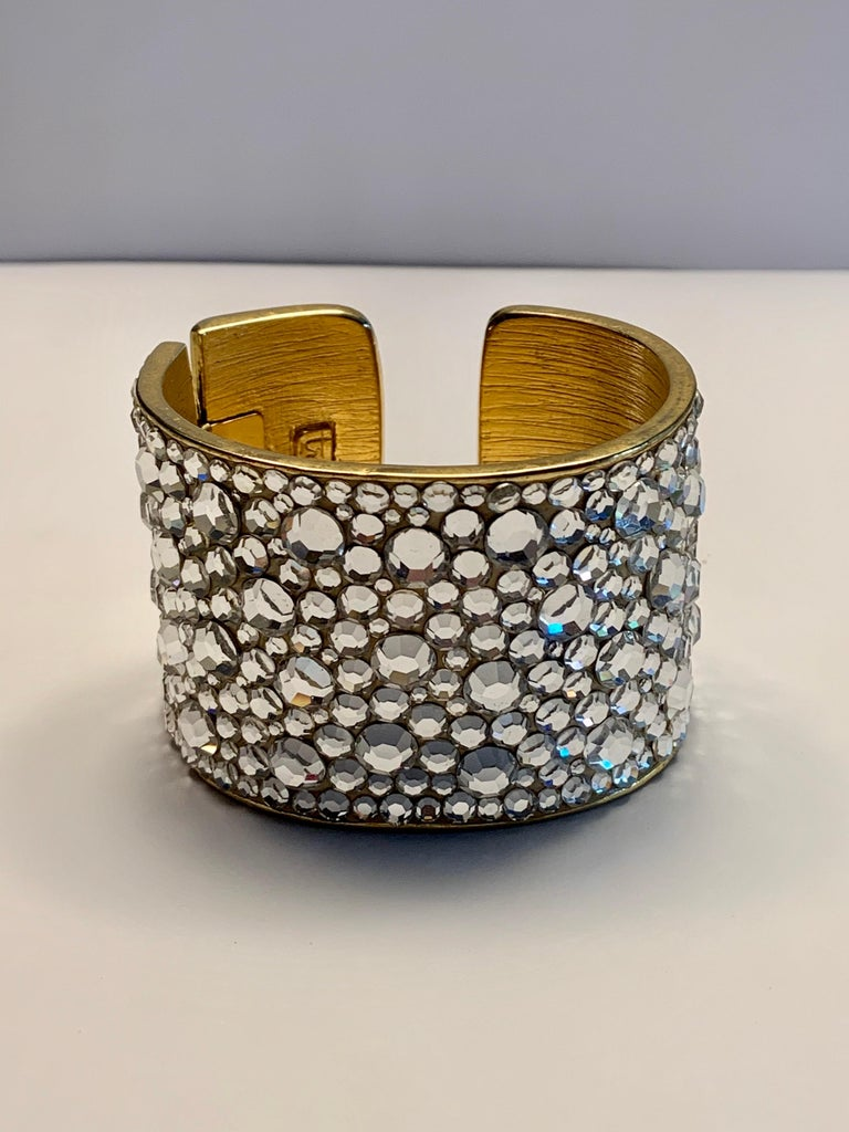Pauline Trigere Diamante Covered Hinged Cuff Bracelet For Sale 3