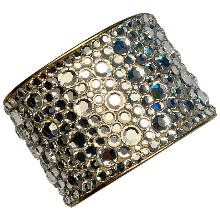 Pauline Trigere Diamante Covered Hinged Cuff Bracelet For Sale
