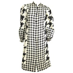Pauline Trigere Dress Black & White Hounds tooth