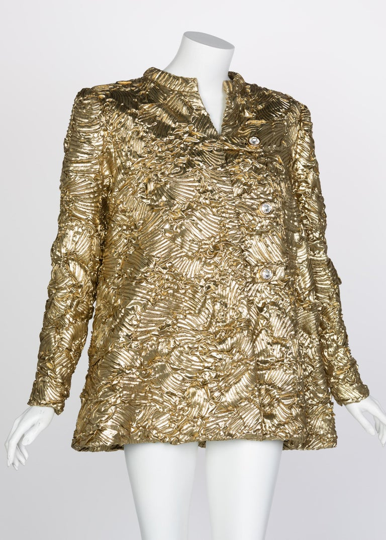 Pauline Trigère Gold Jewel Buttons Evening Jacket In Excellent Condition For Sale In Boca Raton, FL