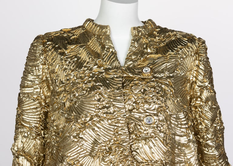 Pauline Trigère Gold Jewel Buttons Evening Jacket For Sale 1