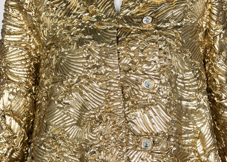 Pauline Trigère Gold Jewel Buttons Evening Jacket For Sale 2