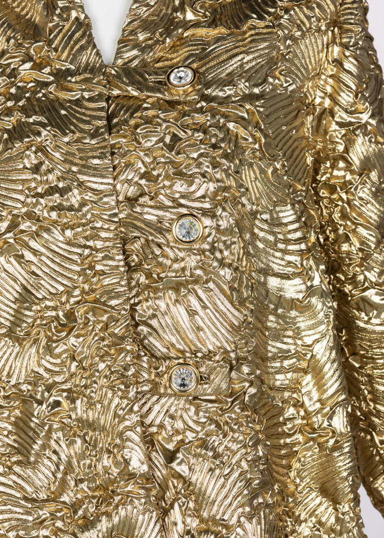 Pauline Trigère Gold Jewel Buttons Evening Jacket For Sale 3