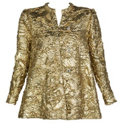 Pauline Trigère Gold Jewel Buttons Evening Jacket