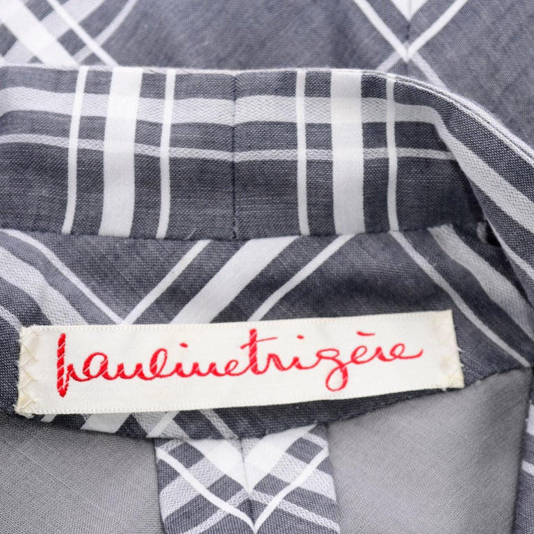 Pauline Trigere Grey & White Plaid Coat Dress w/ Belt For Sale 5