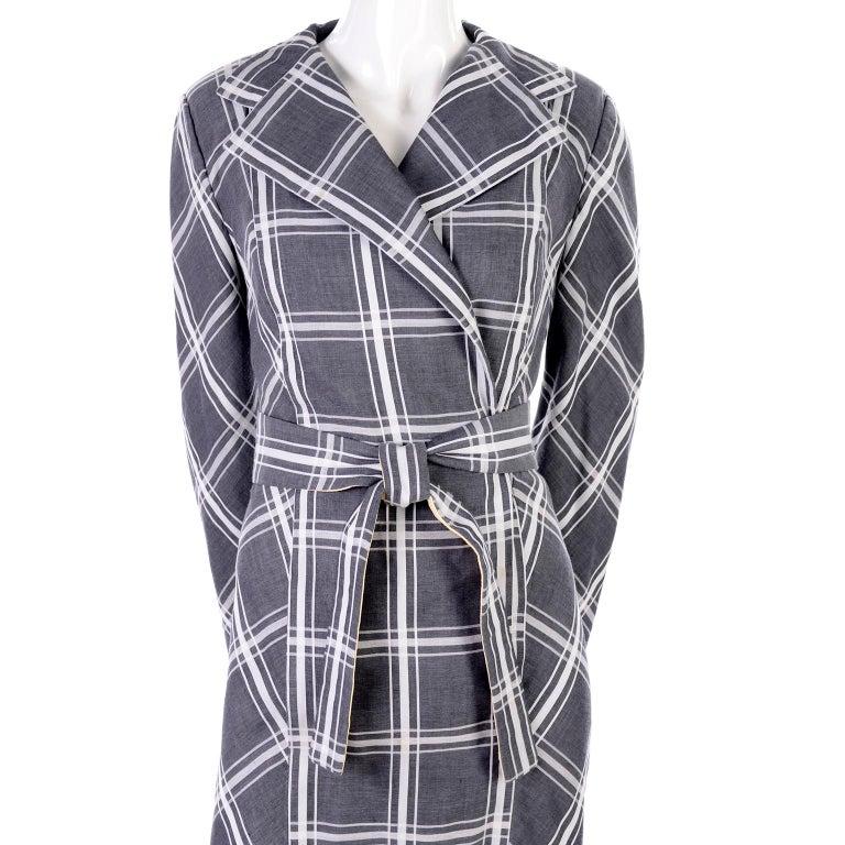 Gray Pauline Trigere Grey & White Plaid Coat Dress w/ Belt For Sale