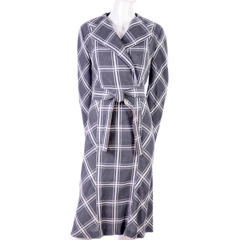 Women's Pauline Trigere Grey & White Plaid Coat Dress w/ Belt For Sale