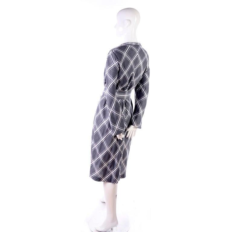 Pauline Trigere Grey & White Plaid Coat Dress w/ Belt For Sale 1