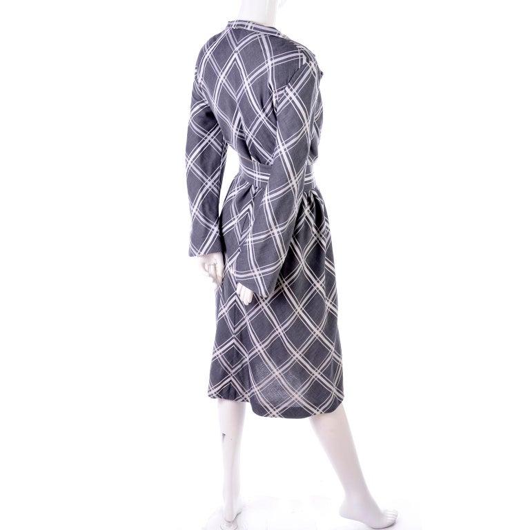 Pauline Trigere Grey & White Plaid Coat Dress w/ Belt For Sale 2