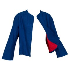 Pauline Trigère Marine Blue Dolman Jacket with Red Lining - Medium, 1960s